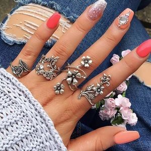 Set 4 Rings Bundle Floral Silver Tone Knuckle Ring